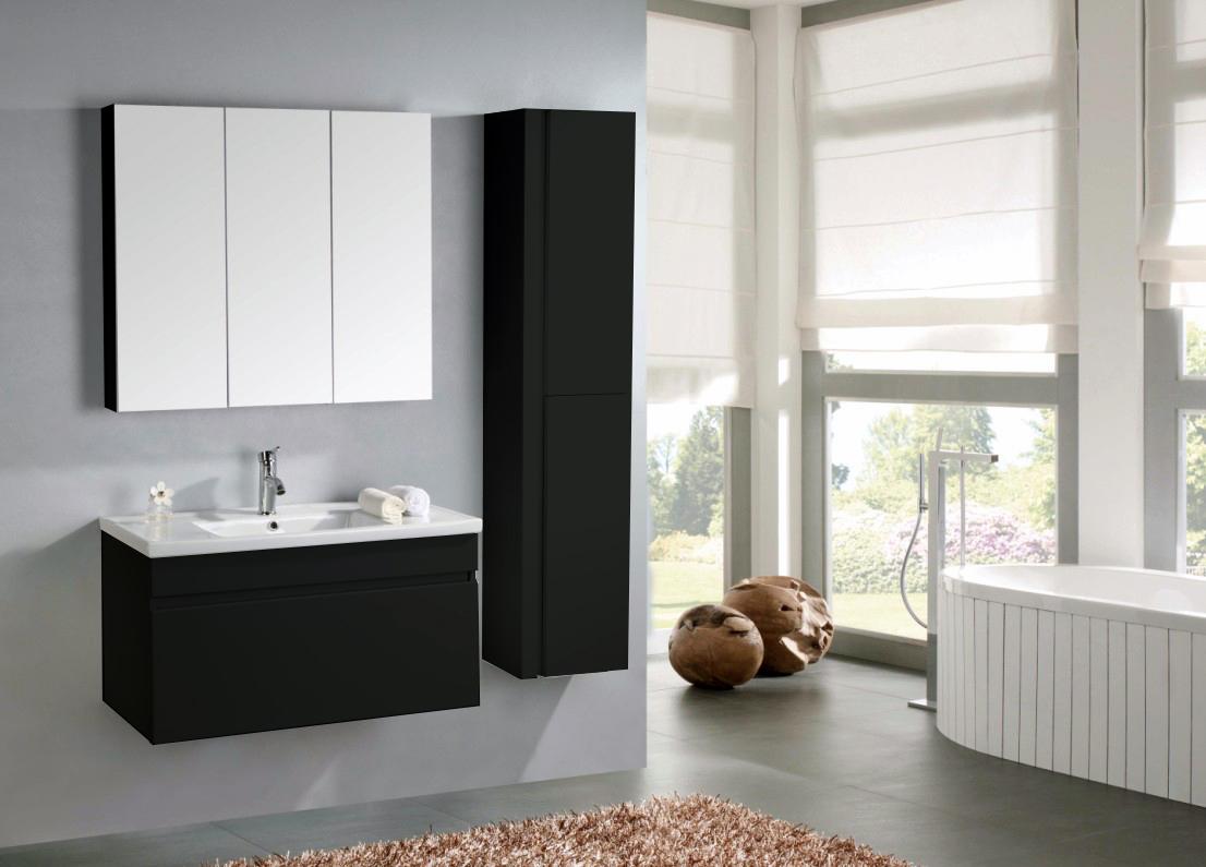 Bad lissabon waschtisch set hochglanz schwarz for Bad spiegelschrank schwarz